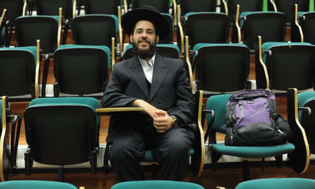Medical student Yehuda Sabiner in class: 'In the end 99% of people were encouraging me.' Photograph: Rami Shlush