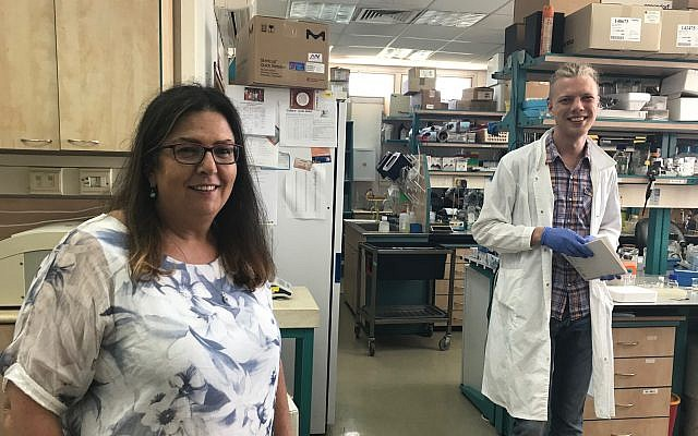 The Technion's Prof. Marcelle Machluf, left, at her lab in Haifa with a lab assistant, June 19, 2019 (Shoshanna Solomon/Times of Israel)