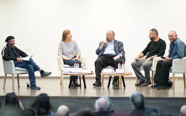 Former Intel Israel President Mooli Eden, left to right; Lena Levine, the co-founder of Via Surgical; Yossi Vardi; Gal Haber, co-founder and managing director of Plus500 Ltd; Dov Moran speak in a panel at entrepreneurship day at the Technion Dec. 19, 2019 (Courtesy)