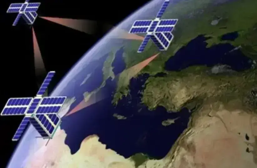 A computer-generated redition of the nano-satellites in orbit (photo credit: Courtesy)
