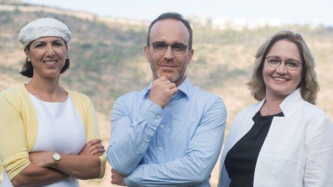 Aleph Farms' leadership team. From left to right: Technion Professor Shulamit Levenberg, Co-Founder & Chief Scientific Adviser; Didier Toubia, Co-Founder & CEO; Dr. Neta Lavon, CTO & Vice President of R&D. Credit: Rami Shalosh (PRNewsfoto/Aleph Farms)