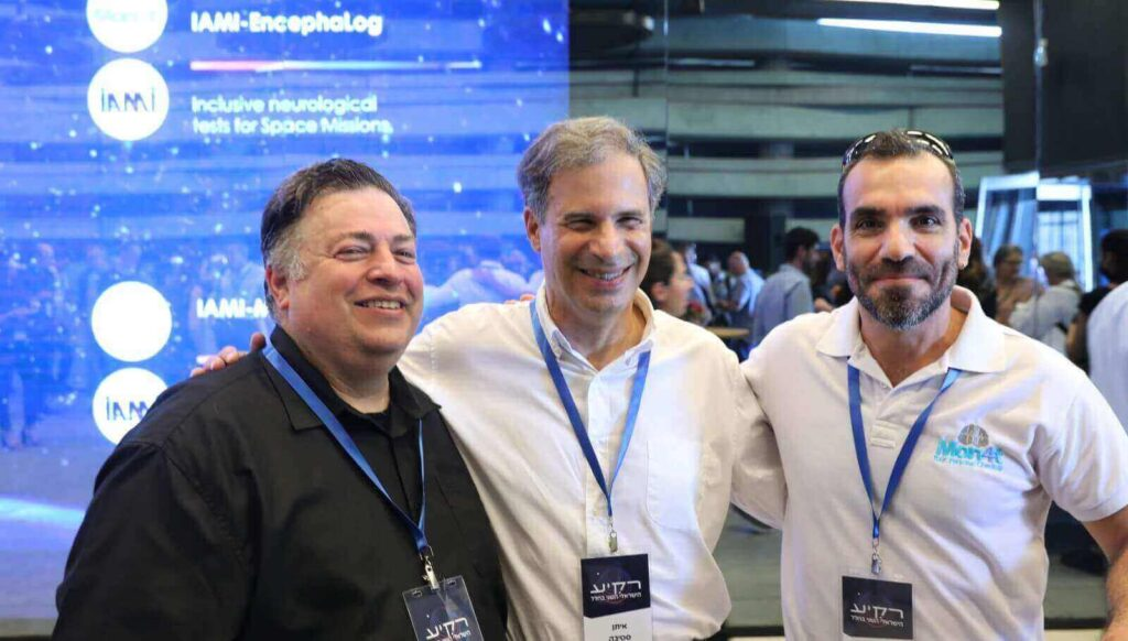 From left, Dr. Eran Schenker of the Israel Aerospace Medicine Institute, astronaut Eytan Stibbe and Dr. Ziv Yekutieli, CEO of Montfort. Photo by Eran Malka